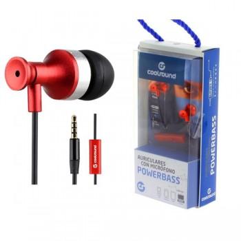 AURICULAR + MICROFONO POWERBASS ROJO COOLSOUND CS0160