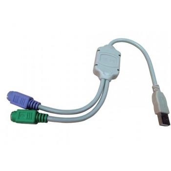 CABLE ADAPTADOR 2X PS2 HEMBRA A USB MACHO 10.03.0101