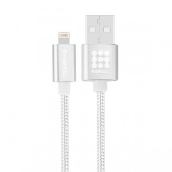 CABLE HAWEEL STYLE METAL LIGHTNING 3A 1MTRO PLATA HAW0041