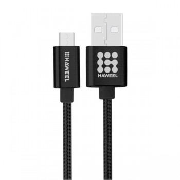 CABLE HAWEEL STYLE METAL MICRO USB 3A 1MTRO NEGRO HAW0040