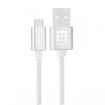 CABLE HAWEEL STYLE METAL MICRO USB 3A 1MTRO PLATA HAW0037