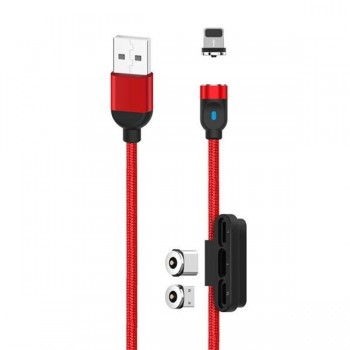 CABLE MAGNETICO 3 EN 1 | MICRO + TIPO C + LIGHTNIG XONB128RED