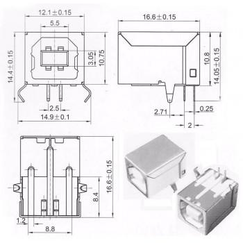 CONECTOR PARA SOLDAR USB-B HEMBRA 90 GRADOS CUSB-B90