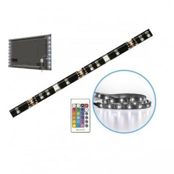 KIT 2 TIRAS LED TV 2X50CM RGB CON MANDO Y TOMA USB 64515