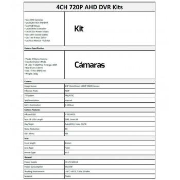 KIT CCTV ONEWAY 4 CAM. DOMO 1080P + GRABADOR 4 CAM OWK1080P-M1