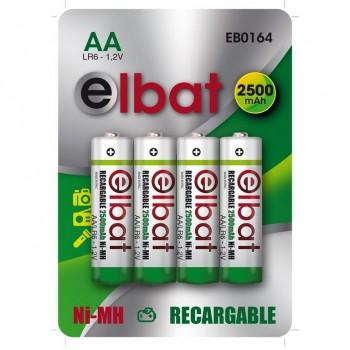 PACK 4 PCS Pilas Recargables AA 2500mAh ELBAT EB0164