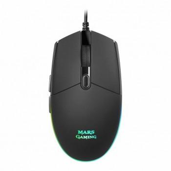 Ratón MARS Gaming USB optico 3200dpi RGB Negro MMG