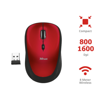 RATON TRUST Yvi Wireless Mouse - rojo 19522