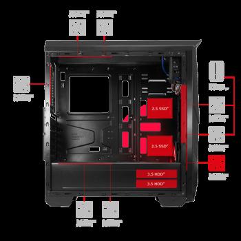 Semitorre Mars Gaming S/F 2xUSB2 1xUSB3 MC5