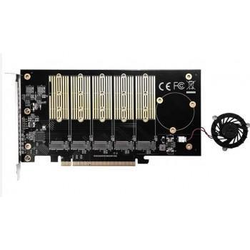 TARJETA PCIE LECTOR NVME M.2 X5 DISIPADOR IO-PCE585-5M