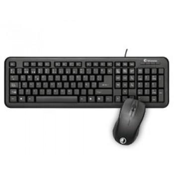 TECLADO + RATON Qi CON CABLE USB NEGRO 50520